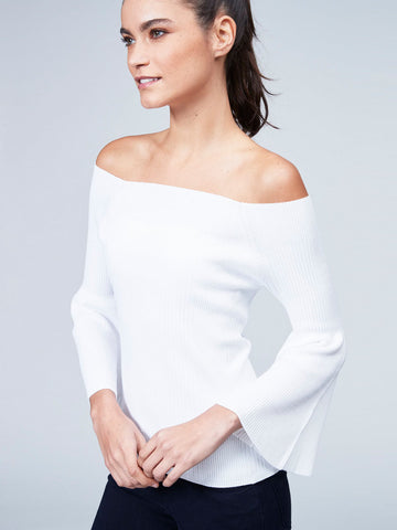 Off Shoulder Tulip Sleeve Top