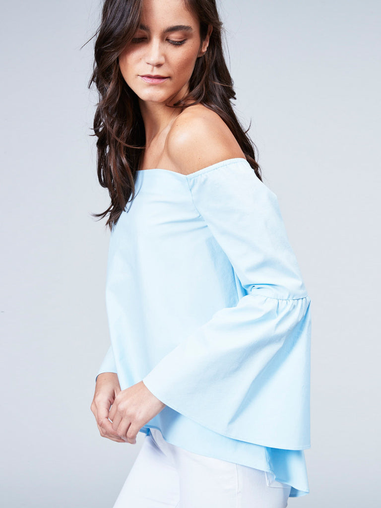 Off The Shoulder Bell Sleeve Top – 525 America