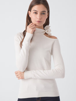 One Shoulder Tie-Neck Sweater