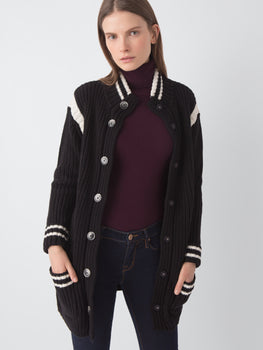 Cotton Shaker Stitch Knit Varsity Jacket