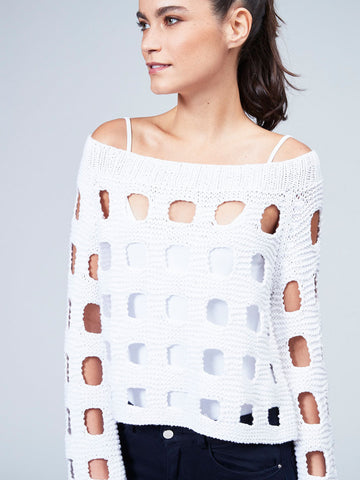 Pointelle Off Shoulder Sweater