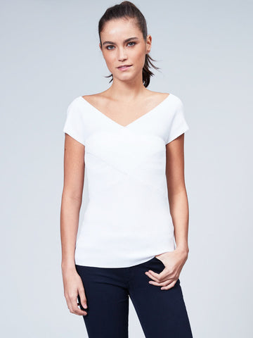 Rib Criss-Cross Cap Sleeve