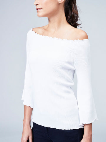 Rib off the Shoulder with Ruffles