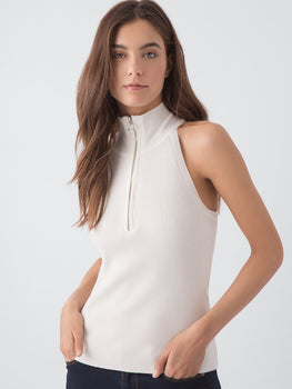Rib Sleeveless Cutaway with Zip