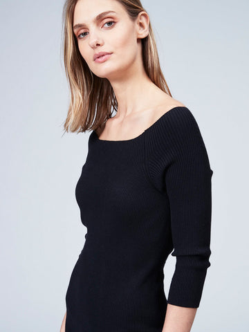 Ribbed 3/4 Sleeve Off Shoulder Dress