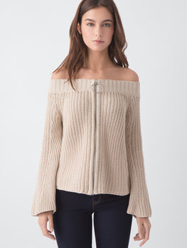 Cotton Shaker Stitch Ring Pull Off-The-Shoulder Cardigan