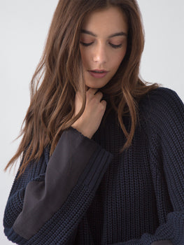 Shaker Knit Cotton Mock Neck & Panel Sweater in Navy Close Up View