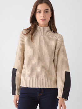 Shaker Knit Cotton Mock Neck & Panel Sweater in French Vanilla