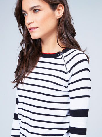 Stripe Crew Neck with Zipper Detail