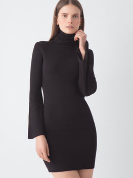 Bell Sleeve Turtleneck Sweater Dress