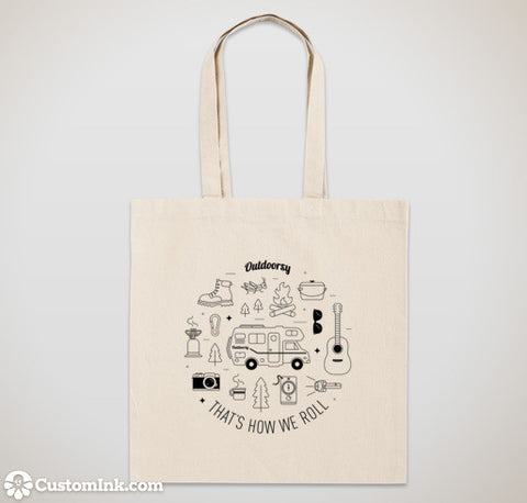 """That's How We Roll"" Outdoorsy Canvas Totes"
