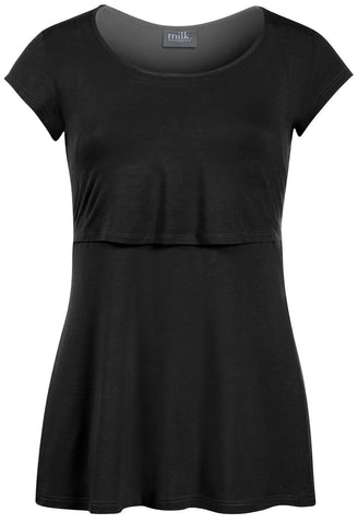 Sleek Scoop Neck Nursing Top- Black