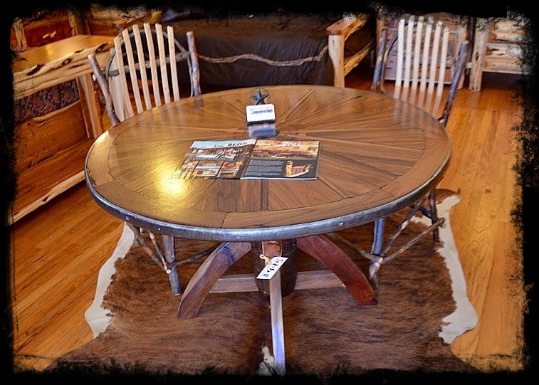 Elegant Genuine Wagon Wheel Table
