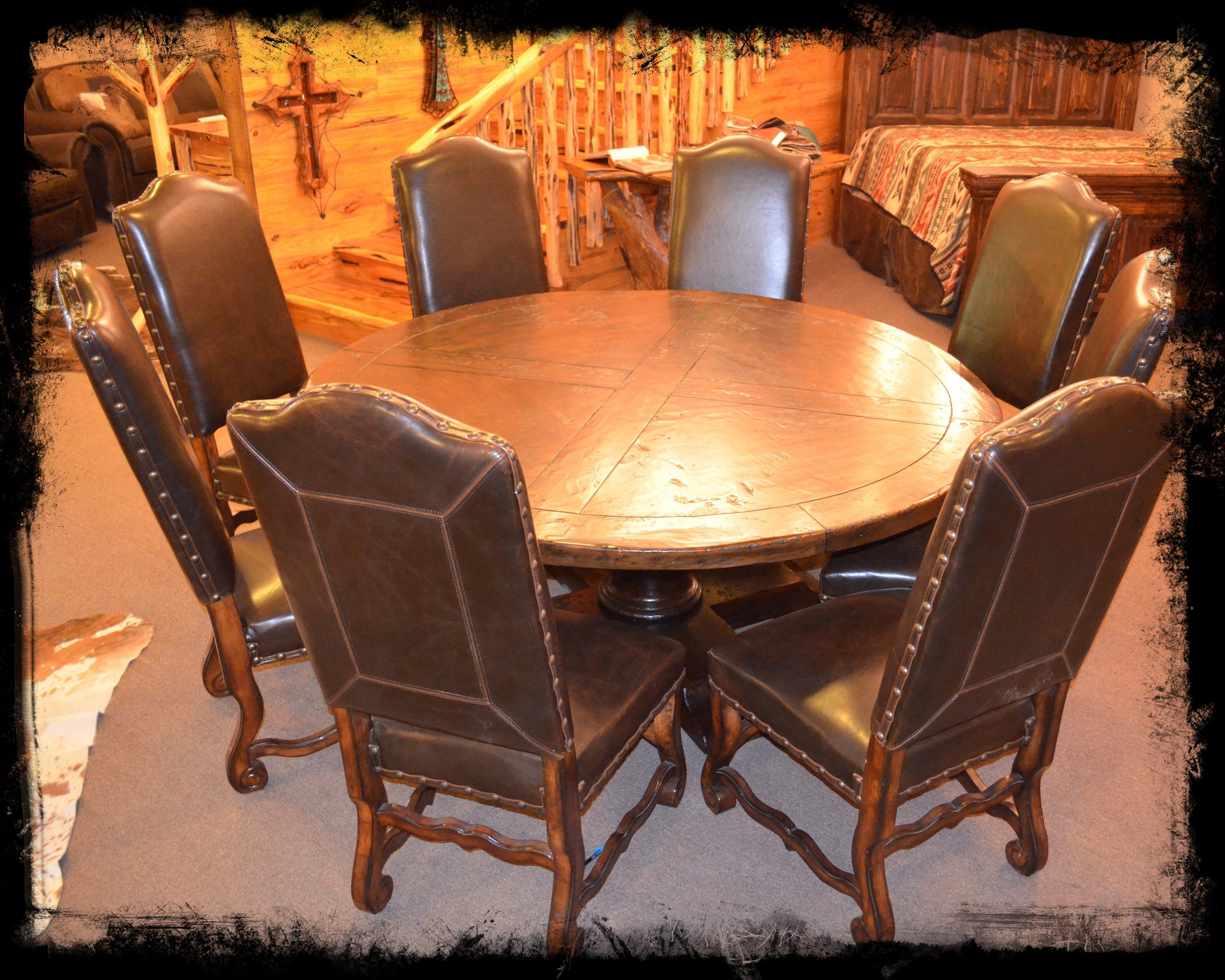 log beds alder furniture 6 round dining table set log beds 4 u