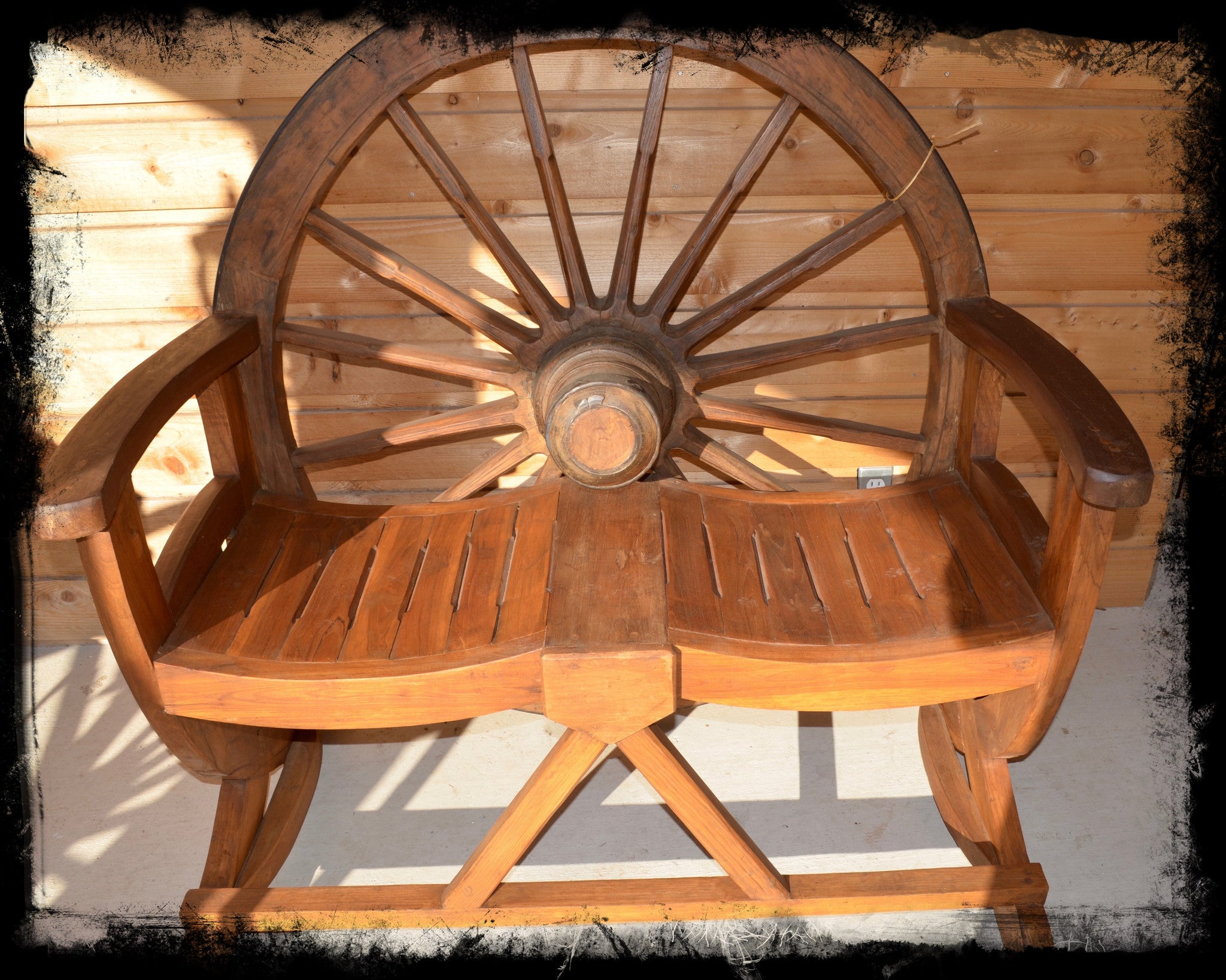 Teak Wagon Wheel Bench