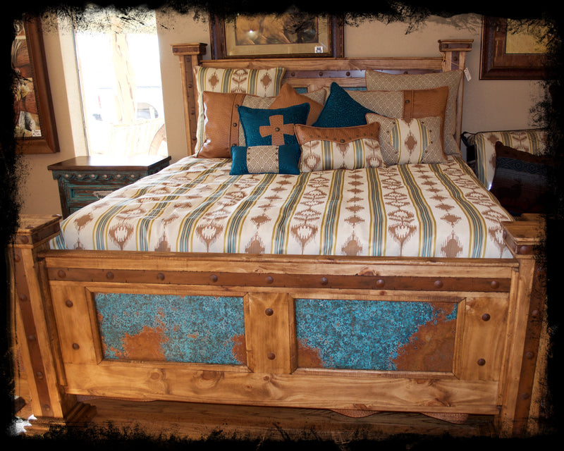King Pine Bed with Turquoise Copper Paneling