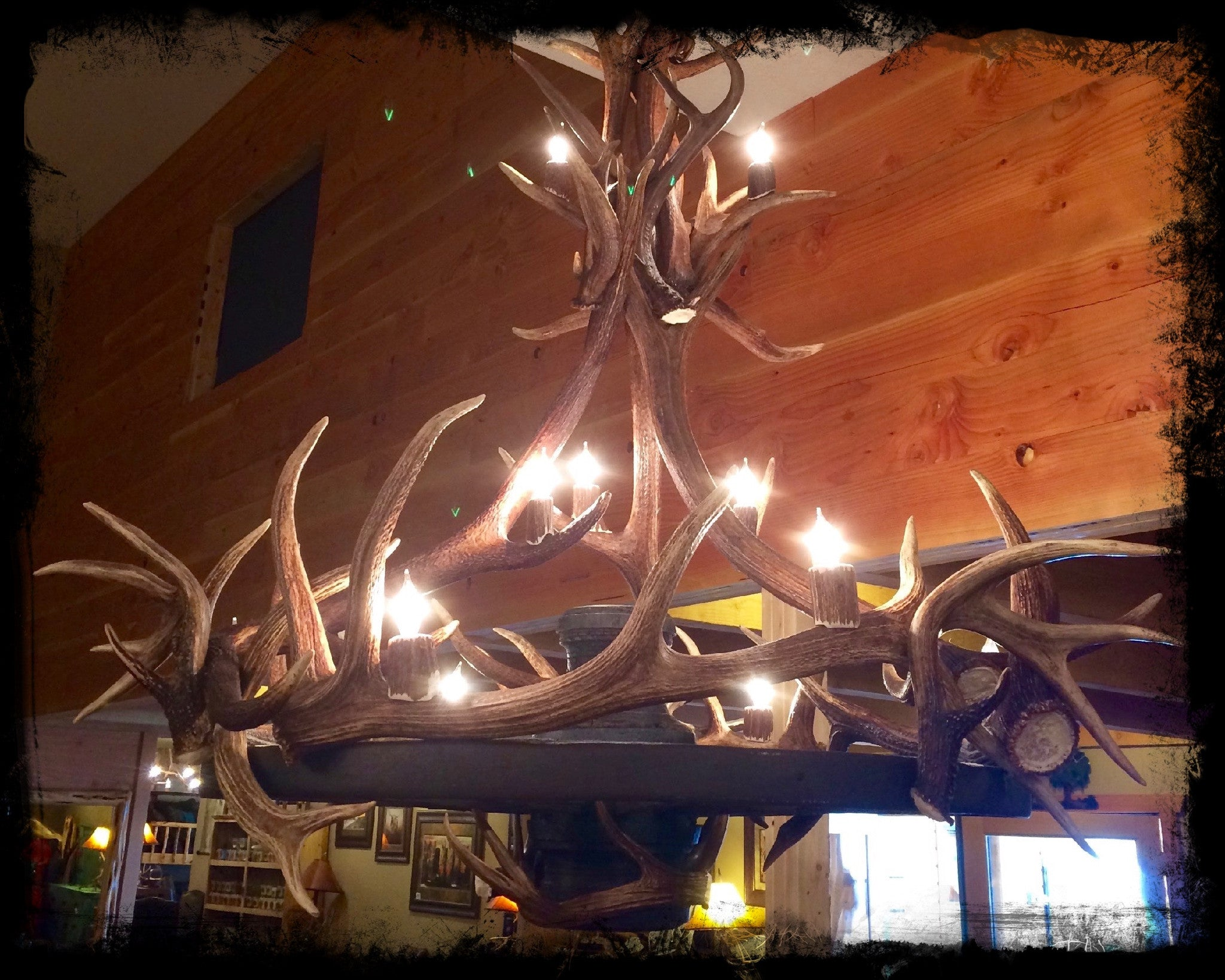 Log beds antler chandeliers genuine antler wagon wheel chandelier genuine wagon wheel chandelier mozeypictures Image collections