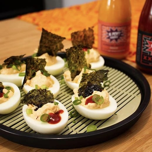 Deviled eggs with Korean gochujang hot sauce