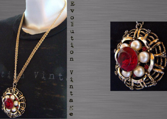 Vintage Statement Necklace with Red Center Stone & Faux Pearls