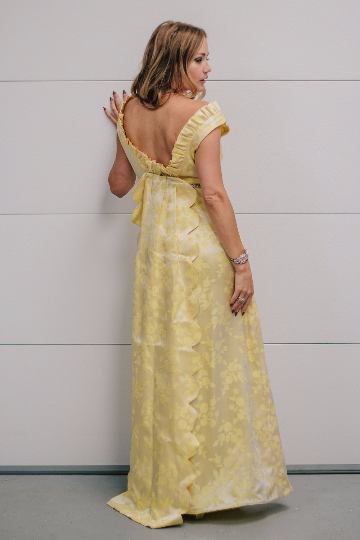 Vintage 1950's Yellow Floral Brocade Gown with Matching Train and Rhinestone Waist Trim