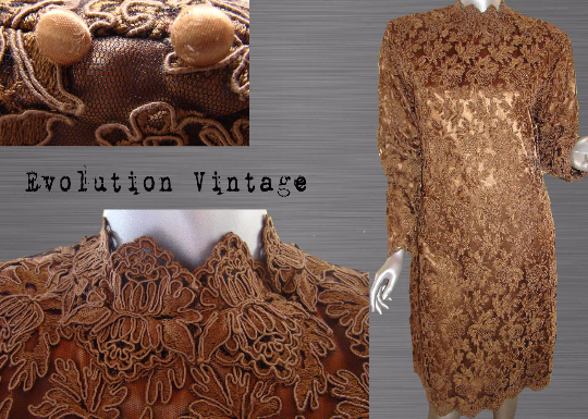Vintage Brown Long Sleeve Lace Cocktail Dress Designed by Clara Silberstein - Los Angeles Active Photos