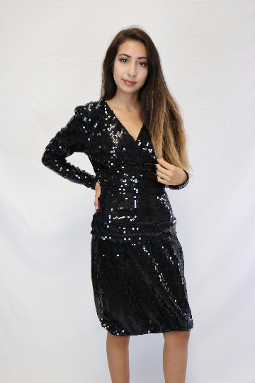 Vintage TADASHI Black Sequin Mini Dress with Long Sleeves