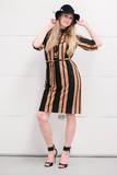 Vintage 1960's MOD Brown Black Striped Dress Old New Stock Jane Compton Dress with Original Tags and Matching Fabric Belt