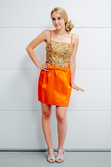 Orange Emma Domb Mini Cocktail Dress with Metallic Brocade and Aurora Borealis Sequin Bodice
