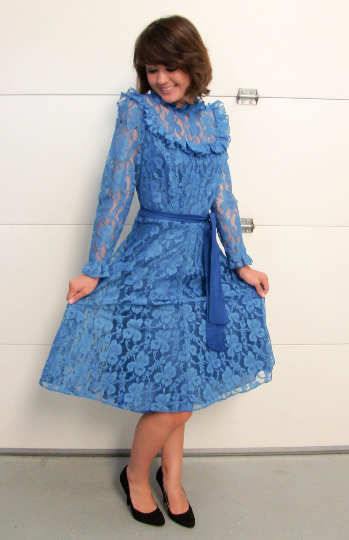 Vintage Romantic Cobalt Blue Lace Dress with Fabric Tie Belt. Lace Ruffled neckline and cuffs