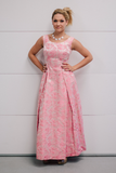 Vintage 1960's Tri-Tone Pink Floral Silk Brocade Romantic Gown