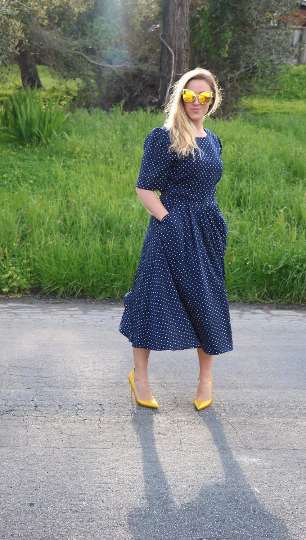 Vintage 1980's Navy Dress With Yellow Polka Dots, Full Skirt and Pockets