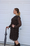 Vintage Chocolate Brown and White Polka Dot Ruffle Skirt Mr Mench Shirt Dress
