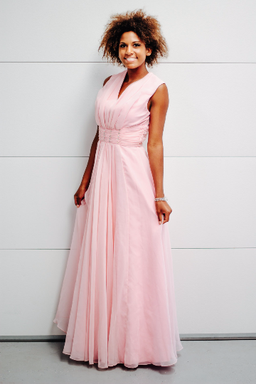 Vintage Mike Benet Formals Pink Chiffon Evening Gown With Jeweled Waist