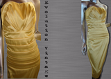 Early 1990's Yellow Strapless Cocktail Dress