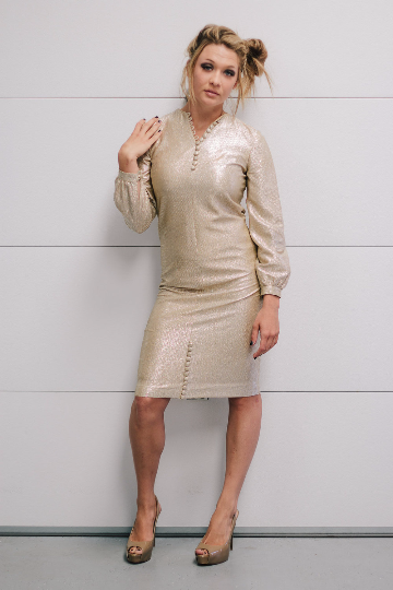 Vintage Gilver (Gold/Silver) Evening Dress with long sleeves and Button Detail at Neck and Hem