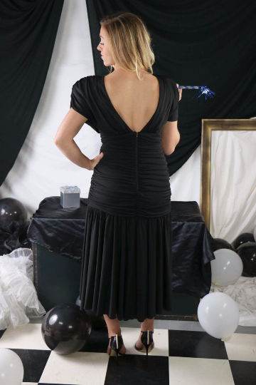 Vintage Black Cocktail Dress with Mesh Diamond Shaped Beaded/Sequin Trim Bodice Cut Out with Sexy Low Back and Rouched Waistline 1980's