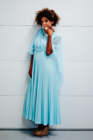 70's Pleated Maxi Dress With Sheer Cape