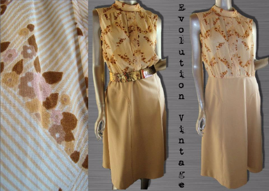 "Vintage 1970's Taupe/Tan/Cream ""Shirt Dress"" with Floral Print Bodice"