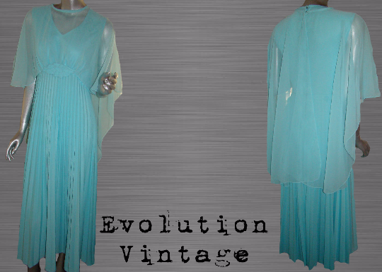 Vintage 1970's Pleated Baby Blue Maxi Dress With Sheer Attached Cape