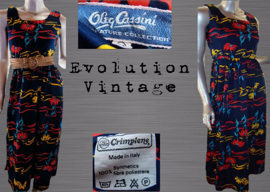 Vintage 60's Oleg Cassini Signature Collection Navy Floral Print Dress