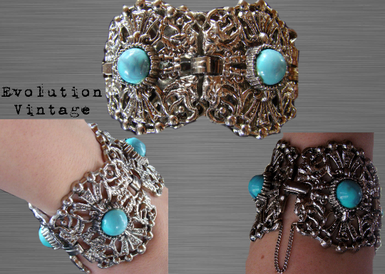 Vintage Silver Tone Filigree Bracelet with Baby Blue Cabochon's
