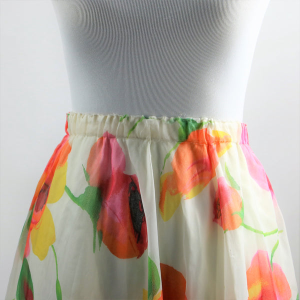 Vintage 1970's White Chiffon with Colorful Floral Watercolor Print Skirt