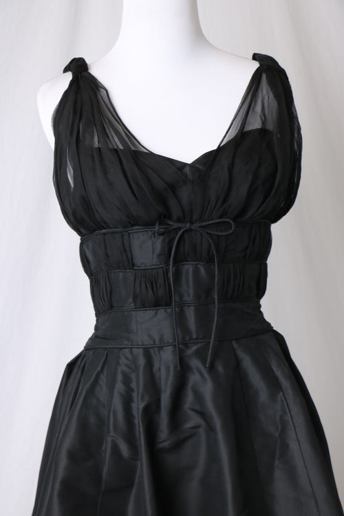 1950's Pierre Balmain Black Silk Taffeta and Chiffon Cocktail Dress