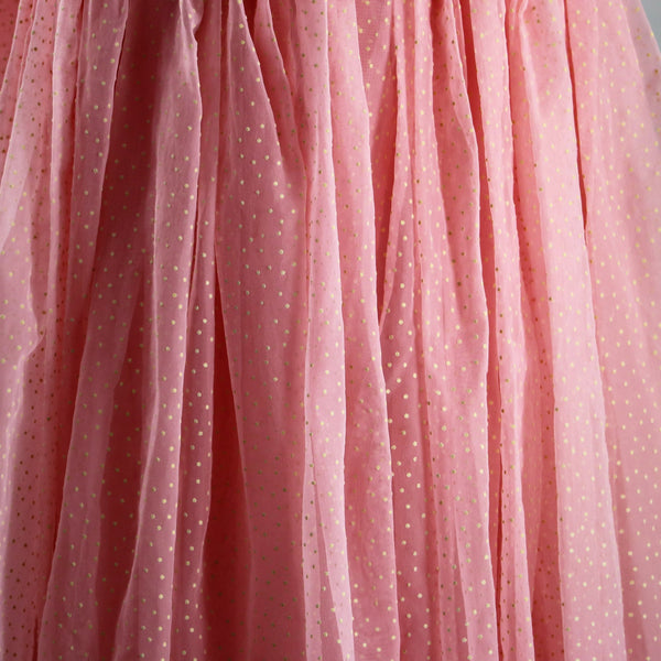 1950's Baby Pink and White Swiss Dot Princess Formal Gown