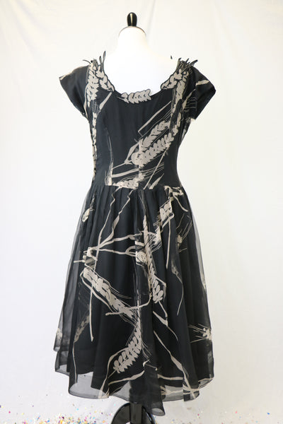 Vintage late 1940's/early 1950's Chiffon Wheat Print Dress with neck appliques