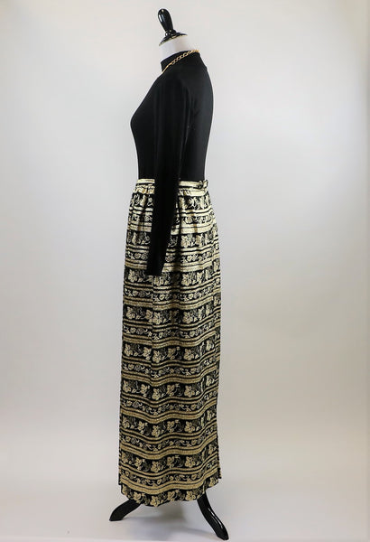 Vintage Black and Gold Eddy George Metallic Maxi Skirt with Leaf and Grapevine Print