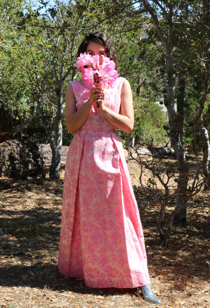Glinda Glamour: Vintage 1960's Tri-Tone Pink Floral Silk Brocade Romantic Gown