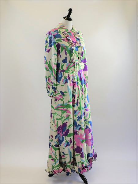 Vintage 1960's/70's Brenner Couture Floral Maxi Dress with Matching Belt