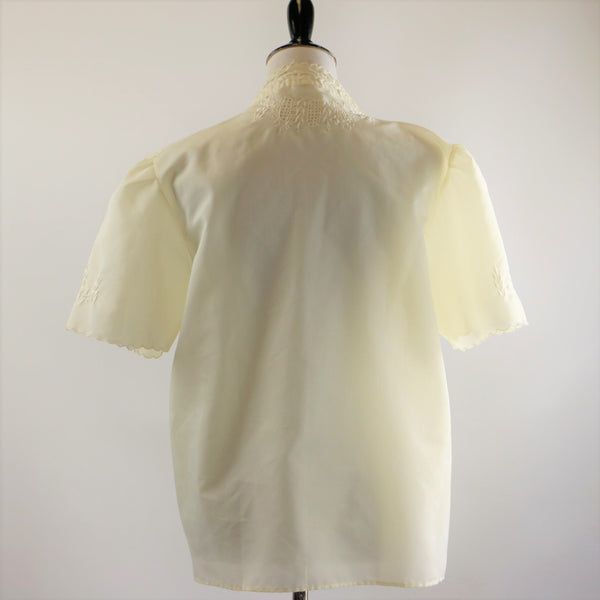 Vintage 1960's Winter White / Cream Cotton Embroidered Blouse