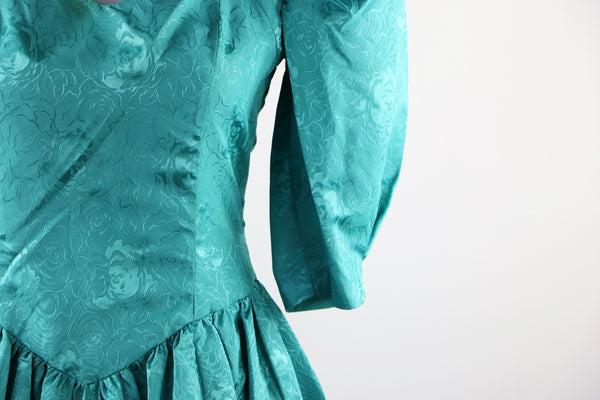 Vintage 1980's Floral Print Teal Dress with High Queen Ann Neckline and Diamond Back Cut Out